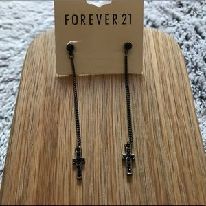 FOREVER 21 - Earrings - Black - Crosses